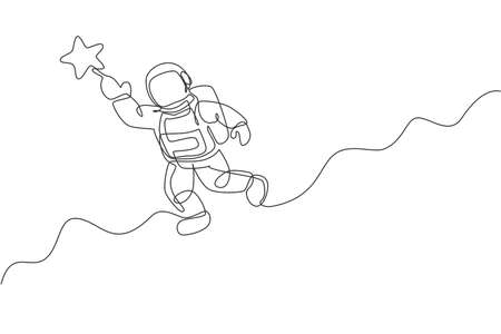 One continuous line drawing of cosmonaut exploring outer space. Astronaut reaching flying star. Fantasy cosmic galaxy discovery concept. Dynamic single line draw graphic design vector illustration