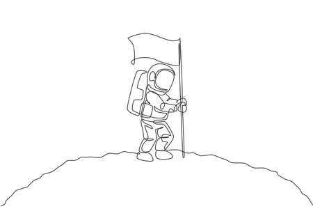 One single line drawing of space man astronaut exploring cosmic galaxy, and planting flag on moon surface vector illustration. Fantasy outer space life fiction concept. Continuous line draw design 向量圖像