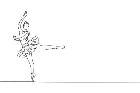 One continuous line drawing of young graceful woman ballet dancer perform beauty classic dance at stage of opera house. Ballet performance concept. Dynamic single line draw design vector illustration 向量圖像