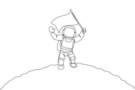 Single continuous line drawing science astronaut in moon surface waving flag to celebrate the landing. Fantasy deep space exploration, fiction concept. One line draw design vector illustration graphic