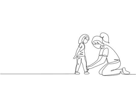 Single continuous line drawing of young mother tying her daughter shoelaces at home before go to school, parenthood. Family parenting concept. Trendy one line draw design vector graphic illustration