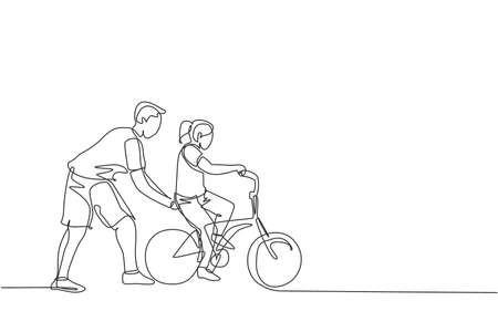 Single continuous line drawing of young kids girl learning ride bicycle with father at outdoor park. Parenthood lesson. Family time concept. Trendy one line draw graphic design vector illustration 向量圖像