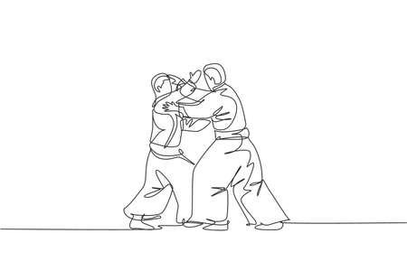 Single continuous line drawing of two young sportive man wearing kimono practice aikido technique woth sparring fight. Japanese martial art concept. Trendy one line draw design vector illustration 向量圖像