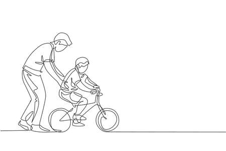 One continuous line drawing of young father help his boy kid learning to ride a bicycle at countryside together. Parenthood lesson concept. Dynamic single line draw design graphic vector illustration 向量圖像