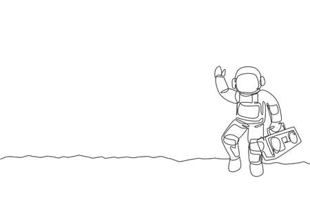 Single continuous line drawing of astronaut walking and holding retro radio with hand on moon surface. Outer space music concert concept. Trendy one line draw graphic design vector illustration