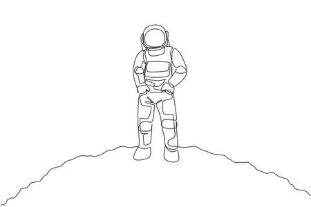 One continuous line drawing of young spaceman on spacesuit put hands in pockets in moon surface. Astronaut business office with deep space concept. Dynamic single line draw design vector illustration 向量圖像