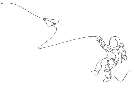 One single line drawing of space man astronaut exploring outer space, launching plane paper graphic vector illustration. Fantasy outer space life fiction concept. Modern continuous line draw design