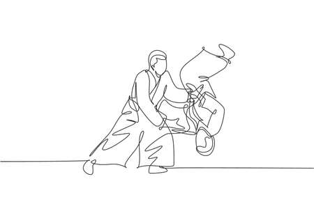 Single continuous line drawing of young sportive man wearing kimono practice throwing enemy in aikido fighting technique. Japanese martial art concept. Trendy one line draw design vector illustration 向量圖像
