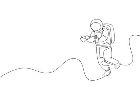 Single continuous line drawing of floating science astronaut in spacewalk reading space map. Fantasy deep space exploration, fiction concept. Trendy one line draw graphic design vector illustration 向量圖像