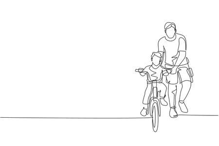 One continuous line drawing of young father help his boy kid learning to ride a bicycle at countryside together. Parenthood lesson concept. Dynamic single line draw design vector illustration graphic