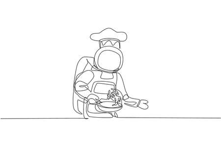 One single line drawing of young astronaut chef cooking healthy cuisine food for cafe resto using fry pan vector illustration. Delicious space galaxy dish concept. Modern continuous line draw design