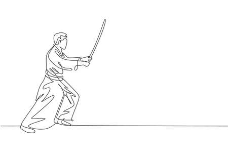 Single continuous line drawing of young sportive man wearing kimono practice aikido fighting technique with wooden sword. Japanese martial art concept. Trendy one line draw design vector illustration