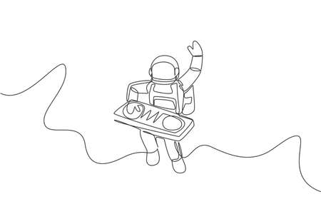 One single line drawing of spaceman playing mixer dj musical instrument in deep space vector illustration. Music concert poster with space astronaut concept. Modern continuous line graphic draw design
