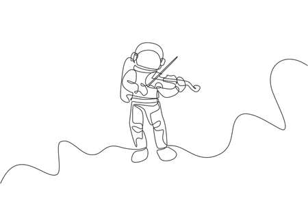 Single continuous line drawing of astronaut playing beauty violin musical instrument in cosmic galaxy. Outer space music concert concept. Trendy one line draw design vector illustration graphic