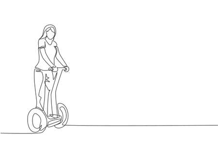 One continuous line drawing of young happy woman ride electric kick scooter at outdoor park. Green transportation. Future urban lifestyle concept. Dynamic single line draw design vector illustration 向量圖像