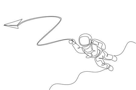 One single line drawing space man astronaut exploring cosmic galaxy, playing with paper plane graphic vector illustration. Fantasy outer space life fiction concept. Modern continuous line draw design Ilustrace