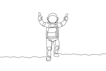 One continuous line drawing young spaceman on spacesuit giving thumbs up gesture in moon surface. Astronaut business office with deep space concept. Single line draw design graphic vector illustration