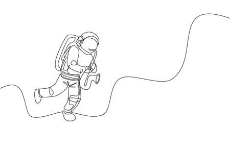 One continuous line drawing astronaut with spacesuit playing saxophone in galaxy universe. Outer space music concert and orchestra concept. Dynamic single line draw design graphic vector illustration