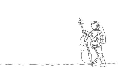 One single line drawing of spaceman cellist playing cello musical instrument on moon surface vector illustration. Music concert poster with space astronaut concept. Modern continuous line draw design