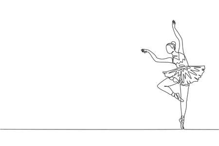 One single line drawing of young beauty dancer woman on tutu exercise classic ballet dance at ballet class vector graphic illustration. Choreographic move concept. Modern continuous line draw design 矢量图像