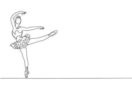 One single line drawing of young beauty dancer woman on tutu exercise classic ballet dance at ballet class graphic vector illustration. Choreographic move concept. Modern continuous line draw design