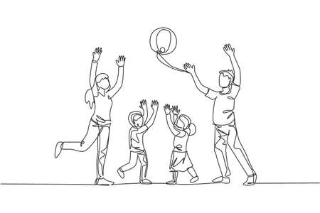 One single line drawing of young mother and father playing throw beach ball with their son and daughter at home vector illustration. Happy family parenting concept. Modern continuous line draw design