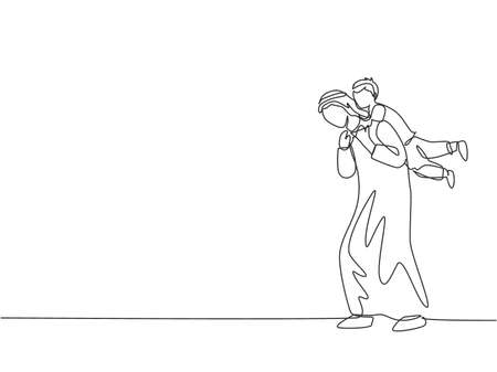 One continuous line drawing of young Arabian father playing with son and holding him on the back. Happy Islamic muslim parenting family concept. Dynamic single line draw design vector illustration