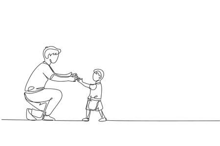 One continuous line drawing of young father ready to hug daughter who learned to walk towards him at home. Happy family parenthood concept. Dynamic single line draw design graphic vector illustration Vecteurs