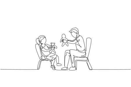 One continuous line drawing young father and his daughter siting on chair and playing princess doll together at home. Happy family concept. Dynamic single line draw design graphic vector illustration Vetores