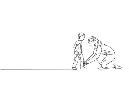 One continuous line drawing of young Arabian dad help his son to tie shoelaces before go to school. Happy Islamic muslim loving parenting family concept. Single line draw design vector illustration Vetores