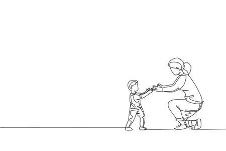 Single continuous line drawing of young mom ready to hug her son who learned to walk towards her at home, happy parenting. Family loving care concept. Trendy one line draw design vector illustration