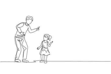 One single line drawing of young dad giving talk some good advice to his daughter at home vector graphic illustration. Communication concept. Happy family parenting. Modern continuous line draw design
