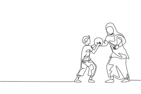 One single line drawing of young Islamic mother playing basketball sport with her son at public park vector illustration. Arabian muslim family parenting concept. Modern continuous line draw design