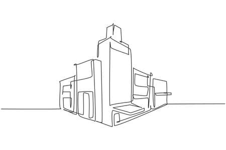 Continuous one line drawing of luxury apartment house in the middle of town. Home building construction hand drawn minimalist concept. Modern single line draw design vector graphic illustration