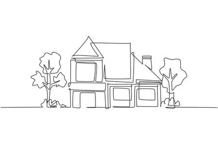 Single one line drawing of eco friendly house construction building. Home architectural property isolated doodle minimal concept. Trendy continuous line draw design graphic vector illustration Ilustracje wektorowe