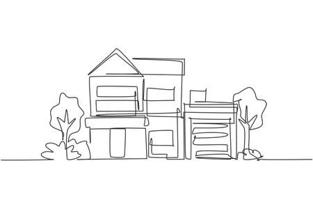 Single one line drawing green minimalist modest house in town. Home architecture building construction isolated doodle minimal concept. Trendy continuous line draw design graphic vector illustration