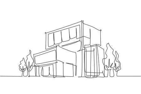Continuous one line drawing of luxury house construction building at city. Home property architecture hand drawn minimalist concept. Modern single line draw design vector graphic illustration Ilustracje wektorowe