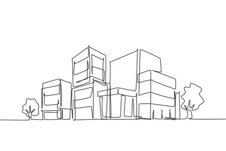 Continuous one line drawing of luxury apartment house in urban area. Home architecture property construction hand drawn minimalist concept. Modern single line draw design vector graphic illustration
