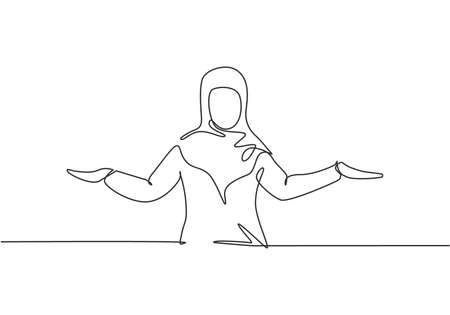 Single one line drawing of young Arabian business woman stretched out her arms. Business presentation to find out solution minimalist concept. Continuous line draw design graphic vector illustration. Vektoros illusztráció