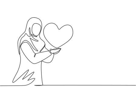 Single continuous line drawing young Arab business woman stretched out her arms with love symbol. Feeling happy with her goals metaphor concept. One line draw graphic design vector illustration. Vektoros illusztráció