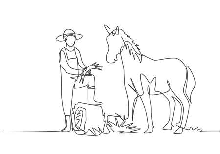 Single continuous line drawing young male farmer stomped one of its feet into the curled hay as it was about to feed the horse. Minimalism concept. One line draw graphic design vector illustration.