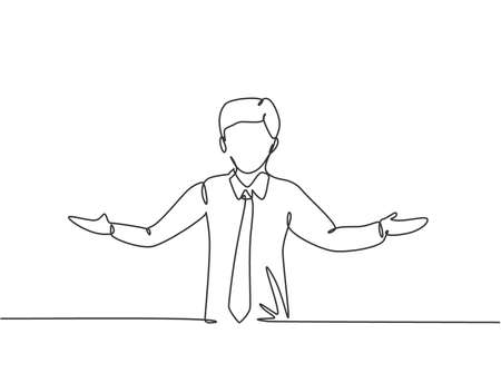 Continuous one line drawing young male worker stretched out his arms. Business presentation to find out solution minimalist concept. Single line draw design vector graphic illustration