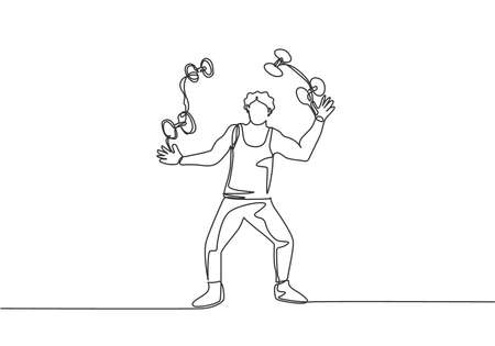 Single one line drawing an acrobat juggling small dumbbells. This game requires dexterity, concentration, and constant practice. Modern continuous line draw design graphic vector illustration. Vektoros illusztráció