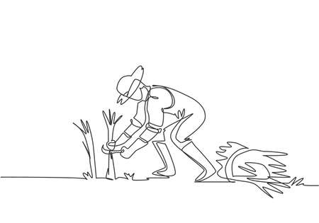 Single one line drawing of young male farmer was harvesting rice and there was also rice that had been tied up. Farming challenge minimal concept. One line draw design graphic vector illustration.