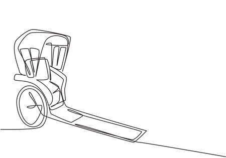 Continuous one line drawing pulled rickshaw vehicles that are a part of history in China and Japan with two wheels and being towed by humans. Single line draw design vector graphic illustration.