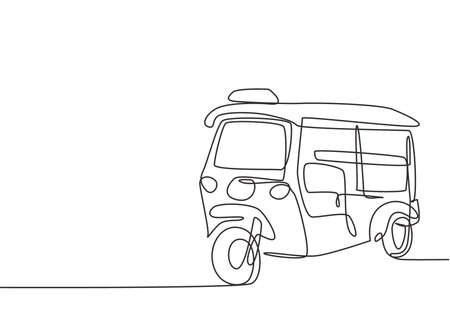 Single continuous line drawing Tuk Tuk Thailand is often used by tourists as a means of transportation to get around tourist attractions in Thailand. One line draw graphic design vector illustration. Ilustración de vector