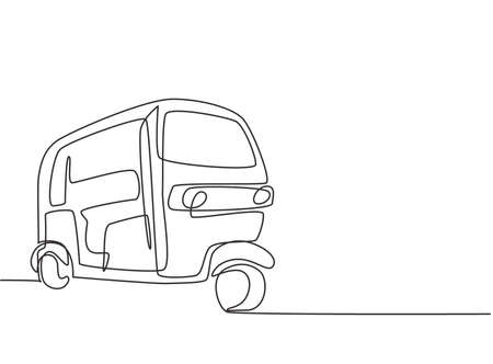 Single continuous line drawing rickshaw traditional transportation in India which serves local passengers and foreign tourists who are on vacation. One line draw graphic design vector illustration.