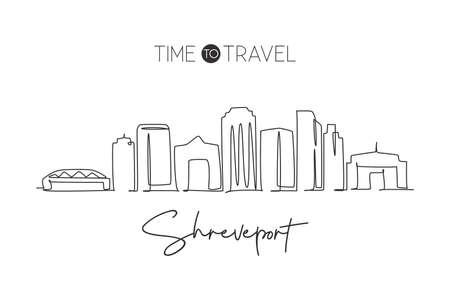 Single continuous line drawing of Shreveport skyline, Louisiana. Famous city scraper landscape. World travel home wall decor art poster print concept. Modern one line draw design vector illustration