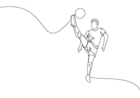 One single line drawing of young happy football player with short sleeve jersey kicking the ball while he's jumping. Soccer match sports concept. Continuous line draw design vector illustration Vektoros illusztráció