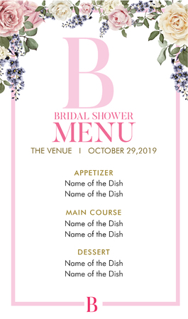 Bridal Shower Menu with initial B Ilustracja